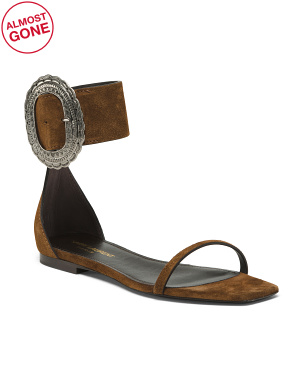 Made In Italy Suede Flat Sandals With Buckle Detail