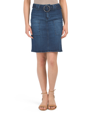 High Waisted Belted Denim Skirt