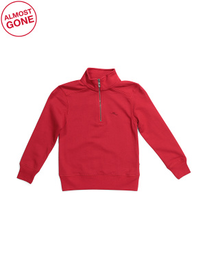 Little Boys French Terry Quarter Zip Pullover Top