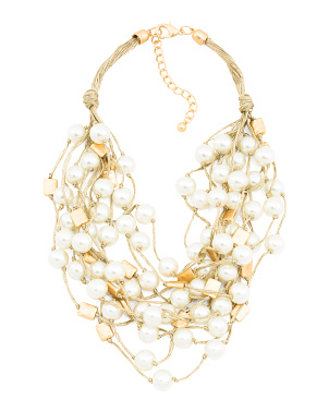 Gold Thread Glass Pearl Necklace