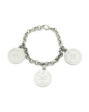 Made In Italy Sterling Silver 3 Coin Bracelet