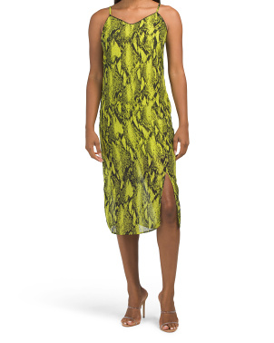 Juniors Neon Snakeskin Print Slip Dress