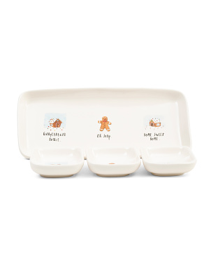 3pk Holiday Dishes With Tray