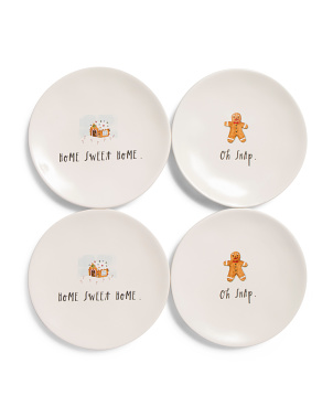 4pk Home Sweet Home Appetizer Plates
