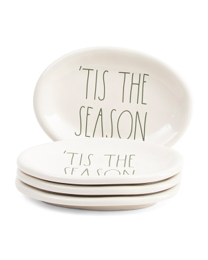 4pk Elongated Oval 'Tis The Season Plates