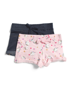 Little Girls 2pk Unicorn Star Knit Shorts