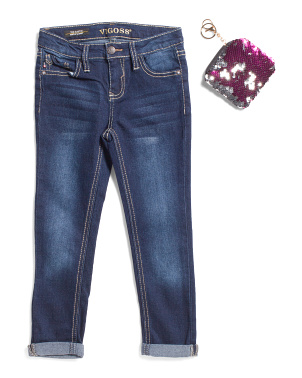 Little Girls Roll Cuff Jean With Sequin Coin Purse