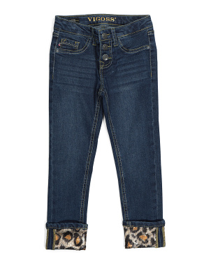 Little Girls Leopard Cuff Ankle Jeans