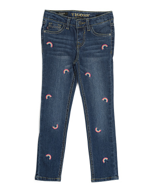 Little Girls Rainbow Ankle Jeans