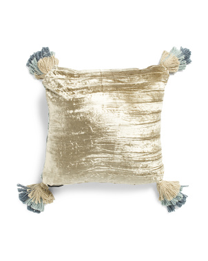 18x18 Reversible Two Tone Crinkle Velvet Pillow