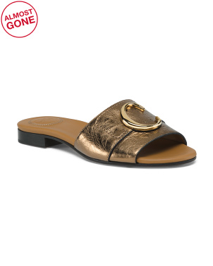 Made In Italy Wide Leather Logo Slide Sandals