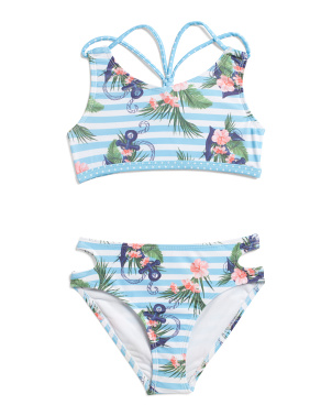 Little Girls 2pc Nautical Print Swimsuit