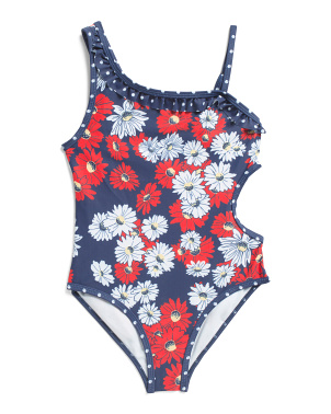 Little Girls Asymmetrical Nautical One-piece Swimsuit