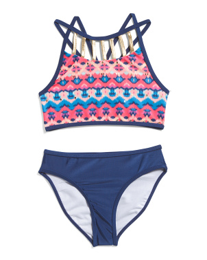Little Girls 2pc Inca Print Bikini Swimsuit