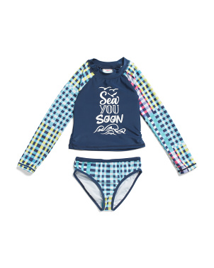 Little Girls 2pc Long Sleeve Gingham Plaid Rashguard Swimsuit