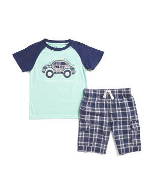 Little Boys 2pc Raglan Police Car T-shirt With Plaid Short Set