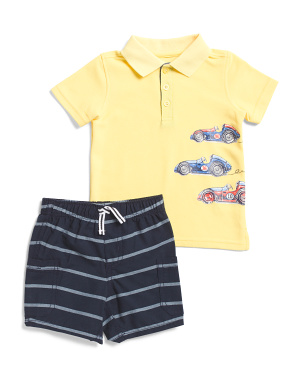 Infant Boys 2pc Racecar Shirt With Striped Shorts Set