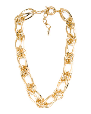 Gold Tone Interlocking Chain Link Necklace