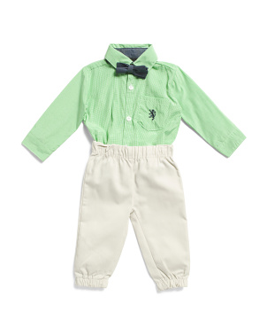 Infant Boys 3pc Jogger Set With Tie