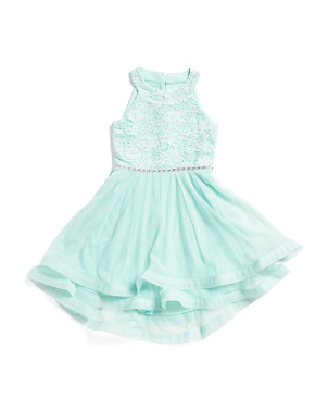 Little Girls Rhinestone Lace Party Dress