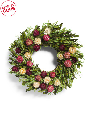 18in Preserved Wreath With Greenery And Strawflower