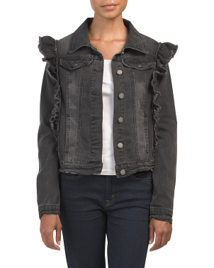 Juniors Denim Jacket With Ruffle Detail