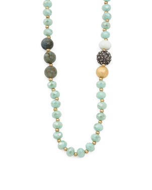 Gold Tone Glass Bead Necklace