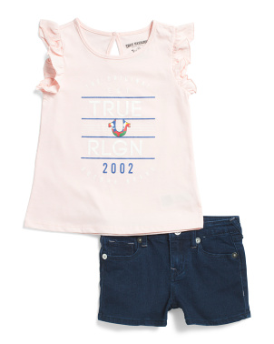Little Girls 2pc Flutter Sleeve Short Set