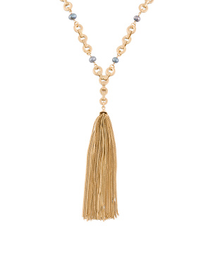 Gold Tone Beaded Tassel Necklace