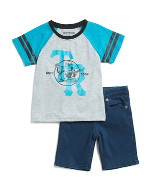 Little Boys Raglan Tee And Denim Short Set