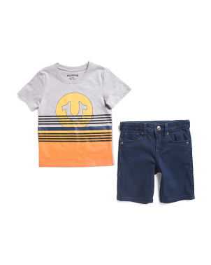 Little Boys 2pc Sunset Tee And Denim Short Set