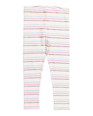 Girls Glitter Stripe Leggings