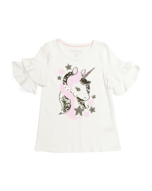 Girls Sequin Unicorn Top