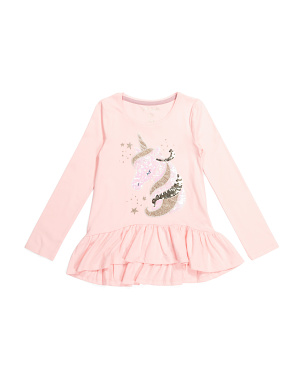 Girls Sequin Unicorn Ruffle Top
