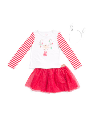 Girls 2pc Reindeer Skirt Set With Headband
