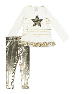 Girls 2 Pc Flip Sequin Star Legging Set