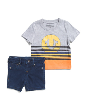Infant Boys Sunset Tee And Denim Short Set
