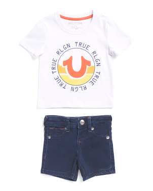 Infant Boys Tee And Denim Shorts Set