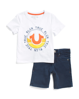 Toddler Boys Tee And Denim Shorts Set