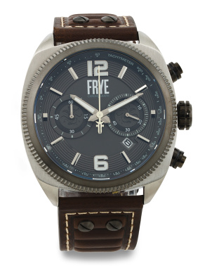 Men's Chrono Moto Engineer Leather Strap Watch