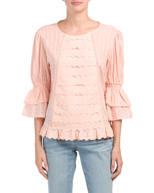 Lace Top With Ruffle Front