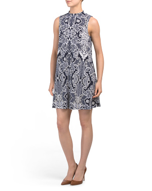 Petite Paisley Print A -Line Sleeveless Dress