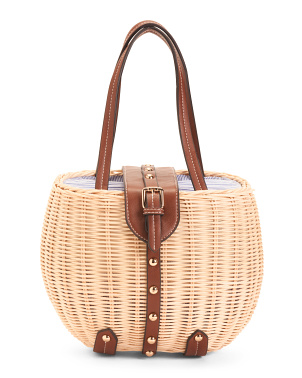 Natural Studded Rattan Picnic Basket