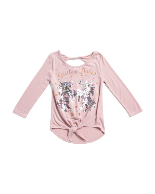 Big Girls Flippy Sequin Unicorn Tie Front Top