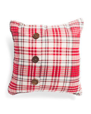 20x20 Plaid Button Pillow