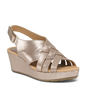Wedged Leather Sandals