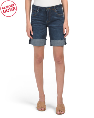 Catherine Roll Up Raw Hem Bermuda Shorts