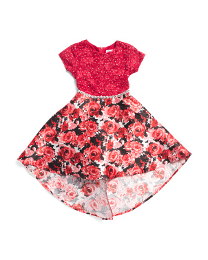 Little Girls Beaded Waist Hi-lo Floral Dress