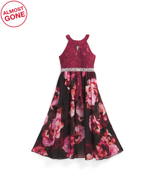 Big Girls Lace Floral Maxi Walk Thru Romper
