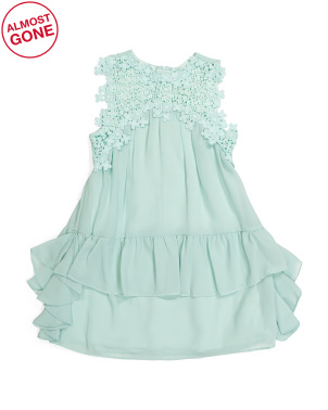 Little Girls Embroidered Ruffle Dress